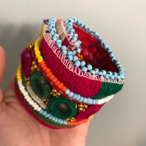 Handmade Colorful Cuff, Boho Beaded Bracelet